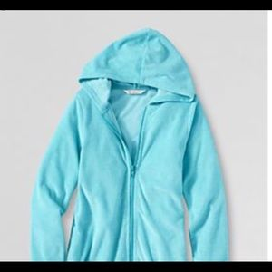 Lands End Blue zip up terry robe